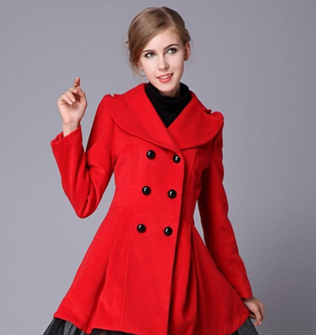 High Quality Wool Red Coat Fashion Trench Winter Coat For Women