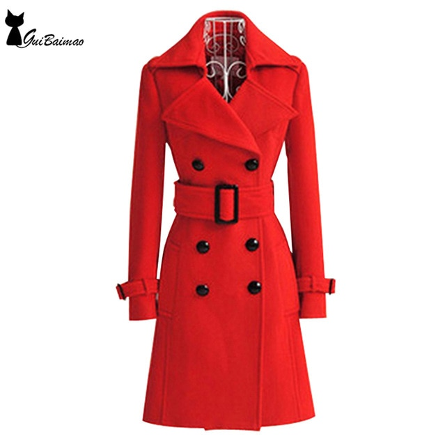 Red Winter Coat Women's Double Breasted Long Sleeve Classic Belted