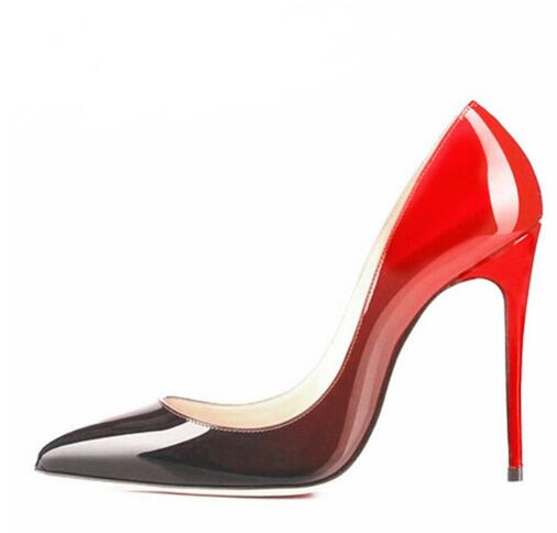 patent leather fading color Black/Red Women Pumps Pointed Toe Sexy