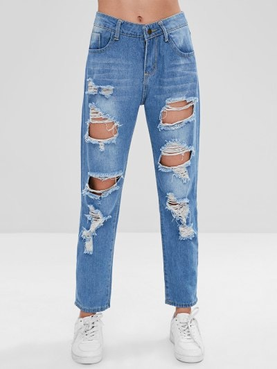 30% OFF] [HOT] 2019 Ripped Boyfriend Jeans In BLUE M | ZAFUL
