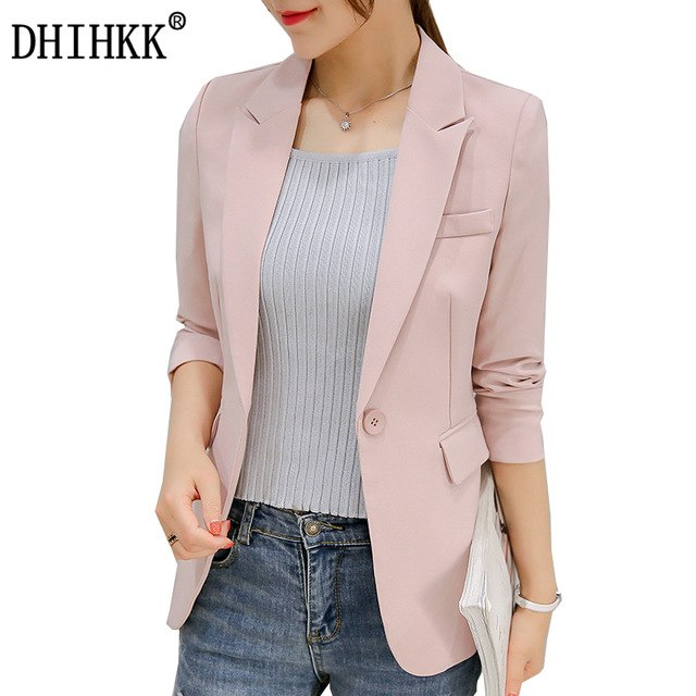 DHIHKK Frauen Single Button Blazer Langhülse Dünne Elegante Rosa