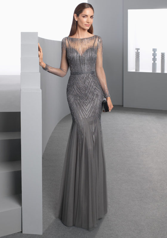 Rosa Clara Cocktail | Gray Evening Dress In Illusion Detail | DBR
