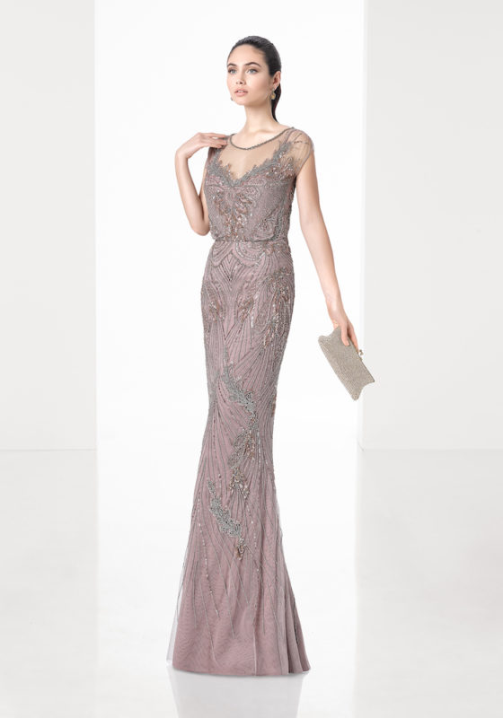 Rosa Clara Cocktail | Beaded Mocha Evening Gown | DBR Weddings