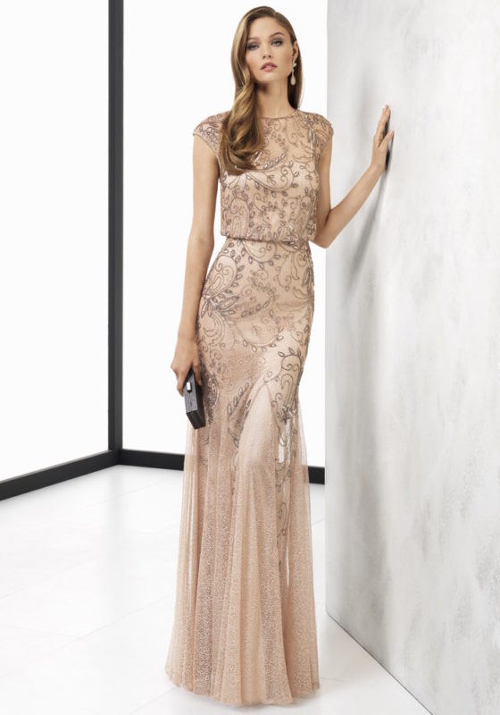 Rosa Clara Cocktail 2018 | Embellished Nude Mermaid Evening Gown