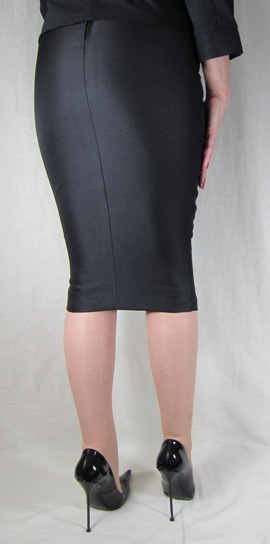 Hobble Skirt Knee Length - Suiting Twill - Stiletto High Heels by