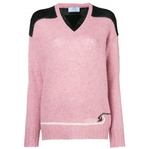 colour block knitted sweater - 13264213 F0028 ROSA - FUIJSJV