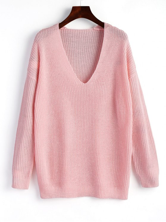 2019 Pullover Plain V Neck Sweater In PINK ONE SIZE | ZAFUL NZ