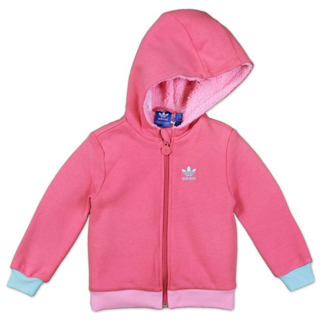 adidas Originals Children Teddy Jacket Cosy Winter Sweater Hoodie