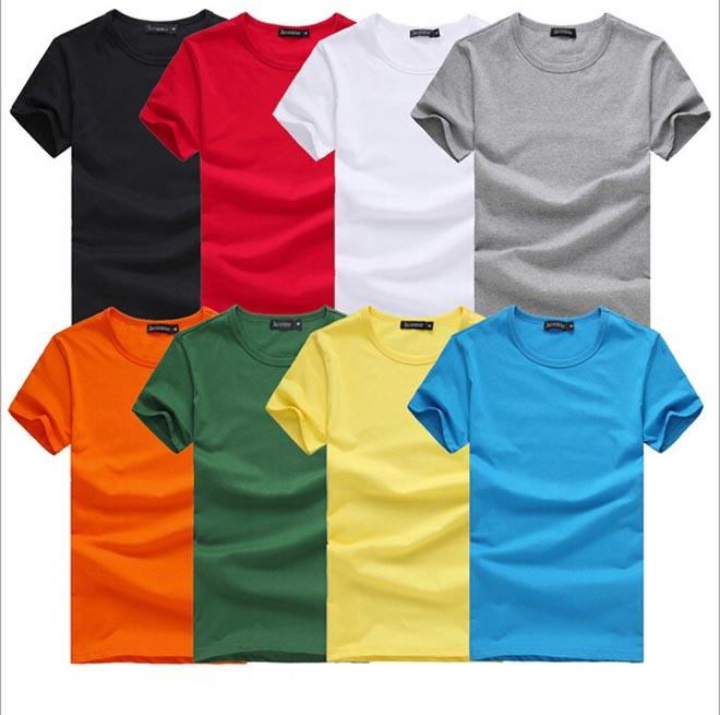 Men Round Neck T Shirt Short Sleeve Tee Solid Color Plus Size T