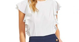 MAKEMECHIC Women's Solid Ruffle Sleeve Summer Tops and Blouses at