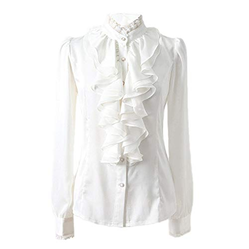 White Ruffle Blouse: Amazon.co.uk