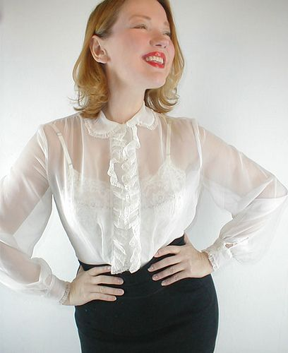50s sheer white ruffled blouse in 2019 | topsdressy | Pinterest