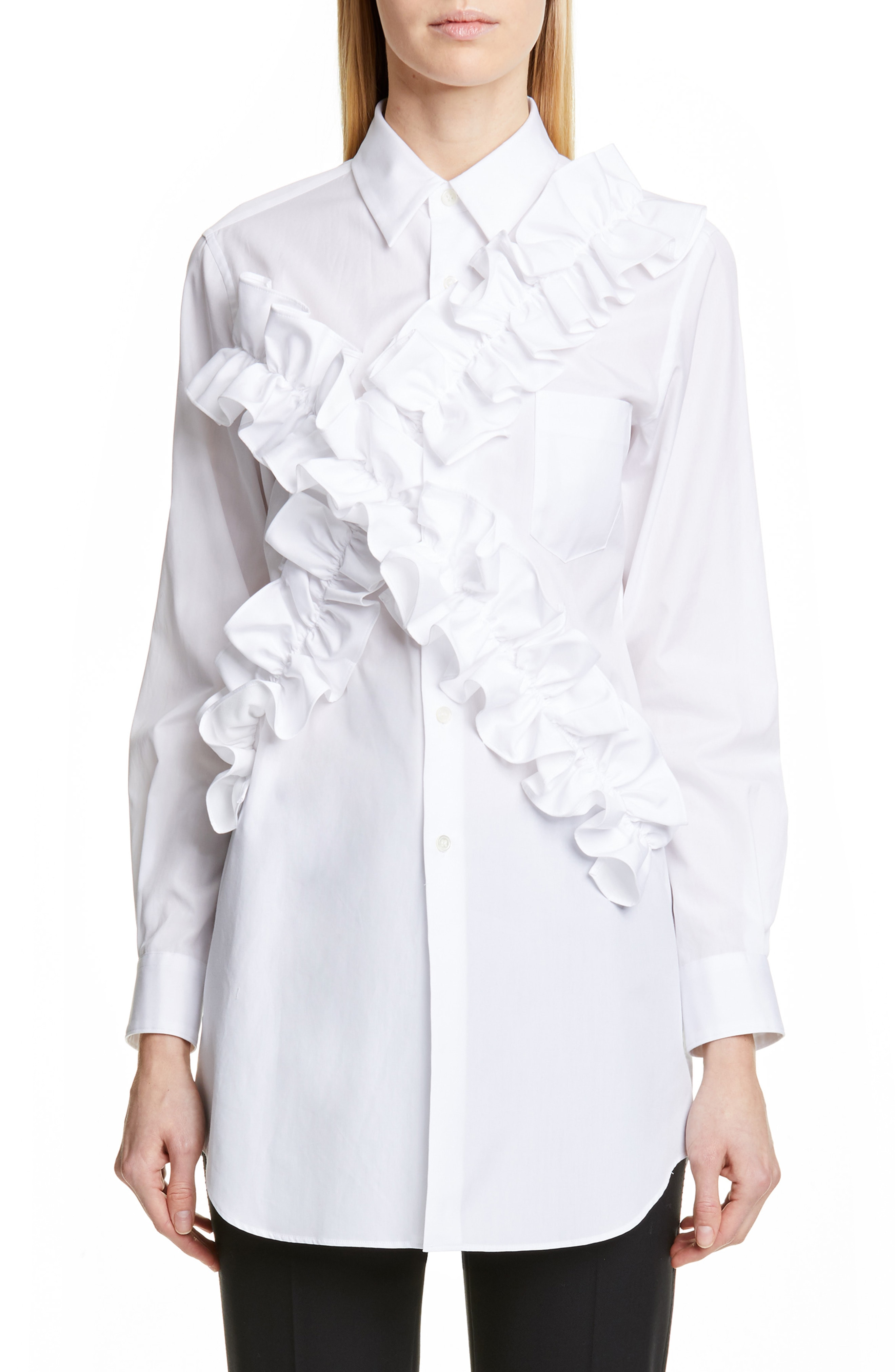 Ruffle Blouses in White