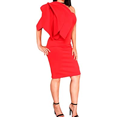 Bodycon4U Women's Ruffles One Shoulder Bodycon Cocktail Party Prom