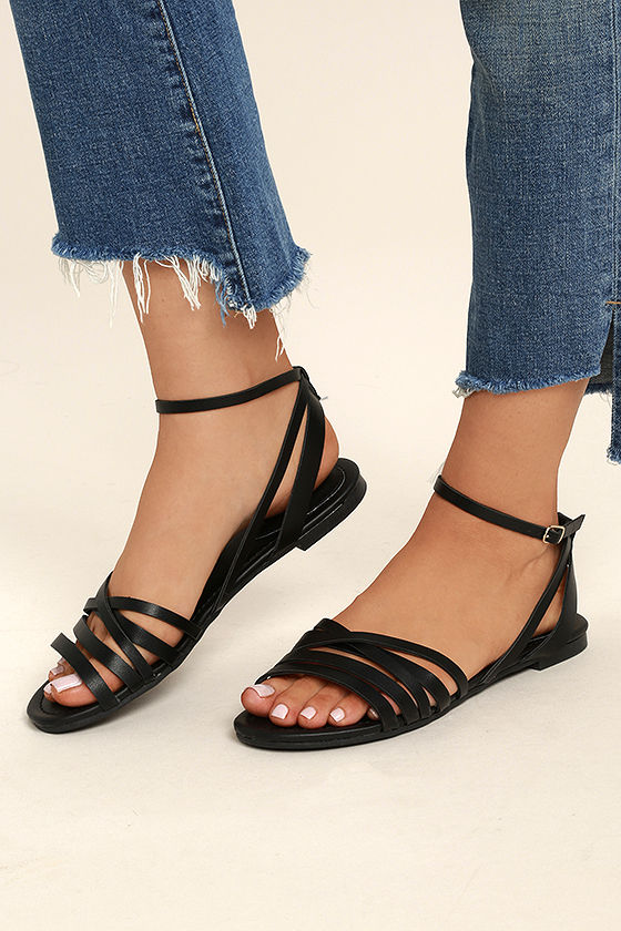 Cute Black Ankle Strap Heels - Black Flat Sandals - Strappy Black