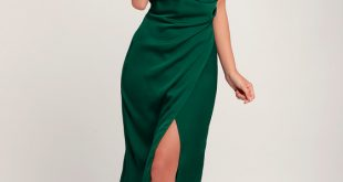Sleek Forest Green Dress - Satin Dress - Midi Dress - Dress