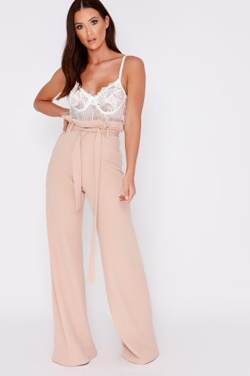 High Waisted Trousers | Satin & Lace Trousers | In The Style