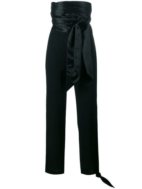 JW Anderson Cummerbund high-waist satin trousers $486 - Buy AW17