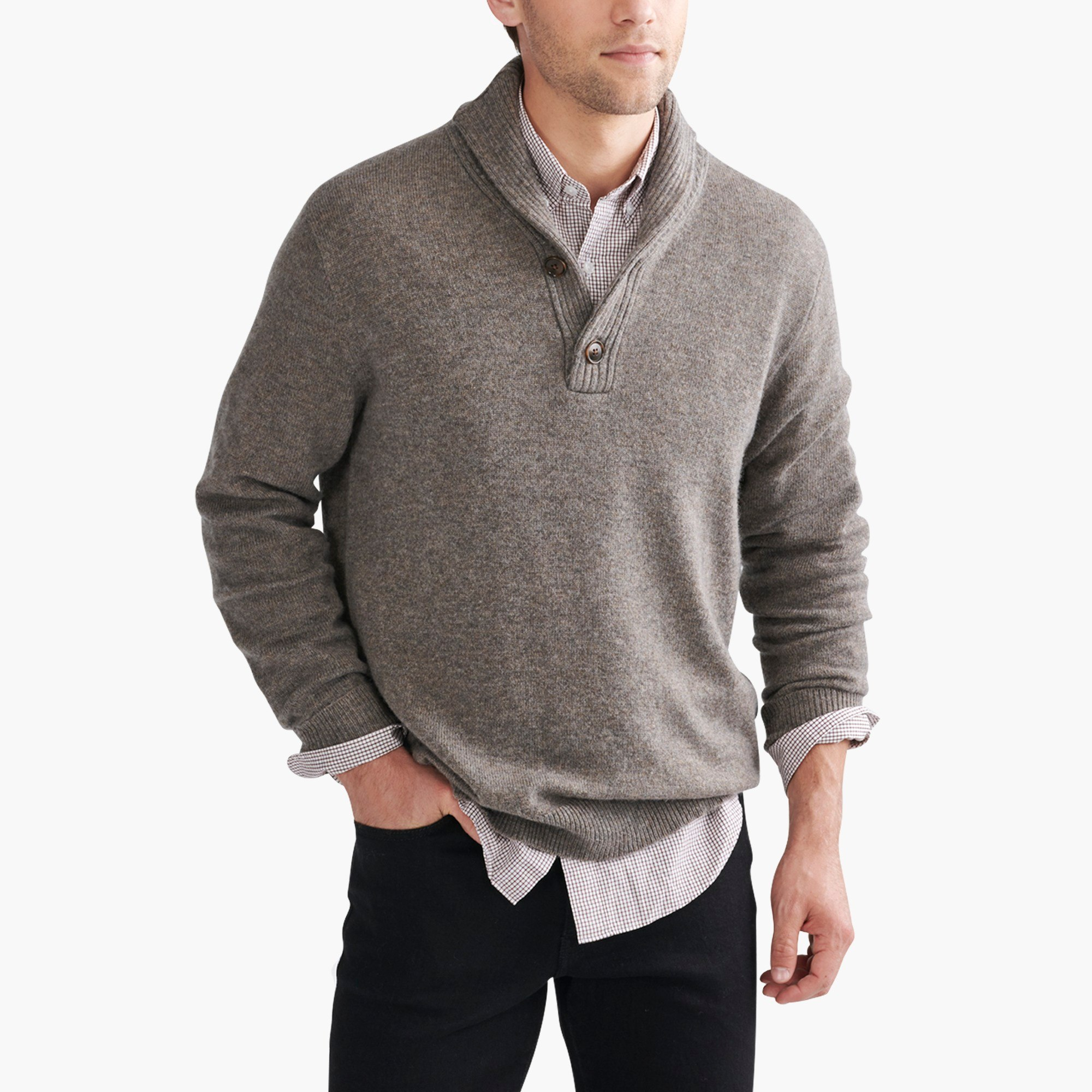 Shawl-collar sweater in supersoft wool blend : FactoryMen Pullovers
