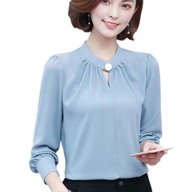 Korean Elegant Office Wear Women Tops Long Sleeve Chiffon Shirt