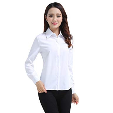 Henghzi Women's Office Slim White Shirt Blouse Long Sleeve Formal