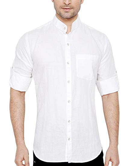 Global Rang Men's Linen Stand Collar Shirt: Amazon.in: Clothing