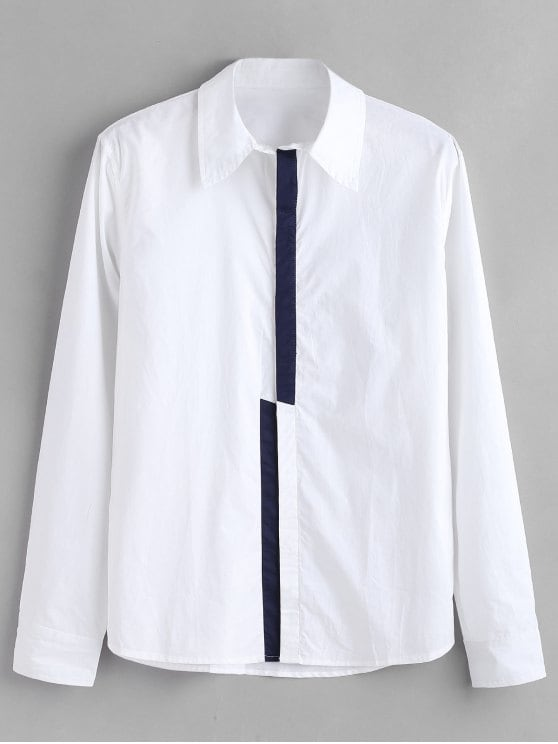 41% OFF] 2019 ZAFUL Color Block Concealed Placket Shirt In WHITE S