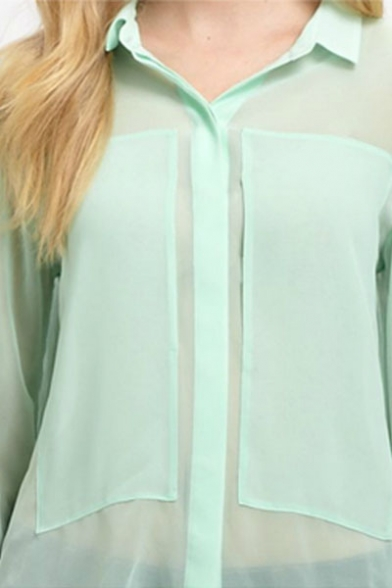 Green Sheer Shirt with Concealed Button Placket - Beautifulhalo.com