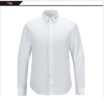 Band Collar With Hidden Placket(fly Front Placket) Formal Embroidery
