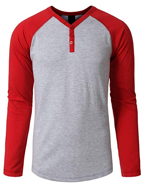 NE PEOPLE Long Sleeve Raglan Tshirt with Button Placket at Amazon