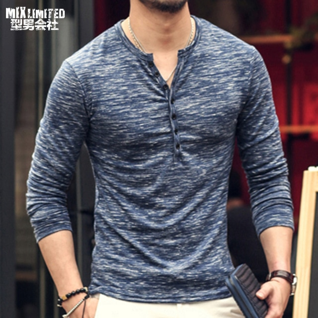2018 new Tee Tops Long Sleeve Stylish Slim Fit T shirt Button