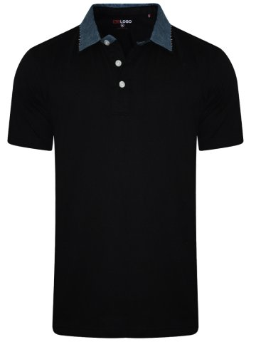Buy T-shirts Online | Nologo Black Polo T-shirt With Denim Collar