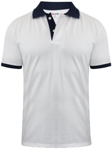Buy T-shirts Online | Nologo White Polo T-shirt With Navy Collar