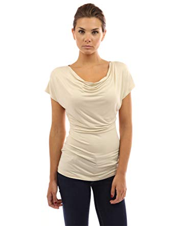 PattyBoutik Women's Cowl Neck Short Sleeve Top at Amazon Women's