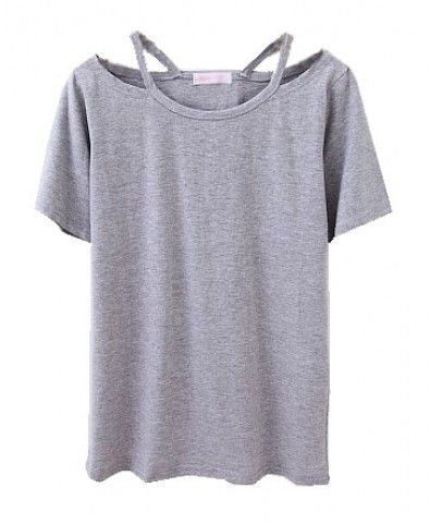 Grey T-shirt with Cut Out Design Neckline $18 | Crafty | Pinterest