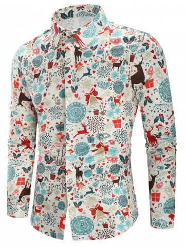 84% OFF ] 2019 Christmas Print Casual Shirt | Rosegal.com
