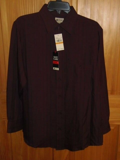 HAGGAR - MEN - DRESS SHIRT - WINE - SIZE SMALL (PK-41-3x2