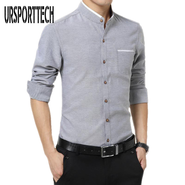 Plus Size M 5XL Cotton Men Shirt New 2017 Stand Collar Casual Male