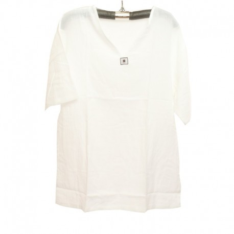 Razia Fashion - Lightweight Thai summer cotton T-shirt white Size M