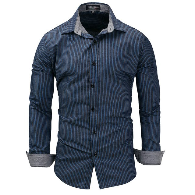 Fashion Men's Striped Shirts Long sleeved 100%Cotton Casual Plus
