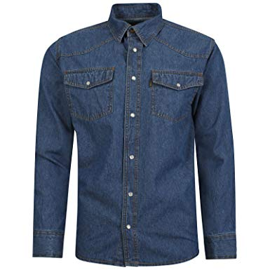 Aztec Mens Western Style Press Studs Poppers Pockets Denim Shirt
