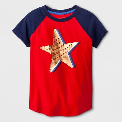 Girls' Short Sleeve Americana Star Graphic T-Shirt - Cat & Jack™ Red