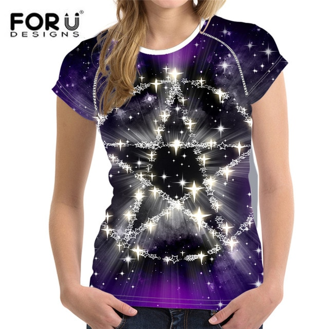 FORUDESIGNS Cool Galaxy Women T shirt,Star Print Summer Tops Femme