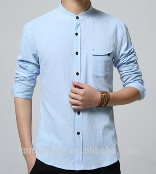 Latest Summer Shirt Cotton Linen Chinese Mandarin Collar Mens Shirts