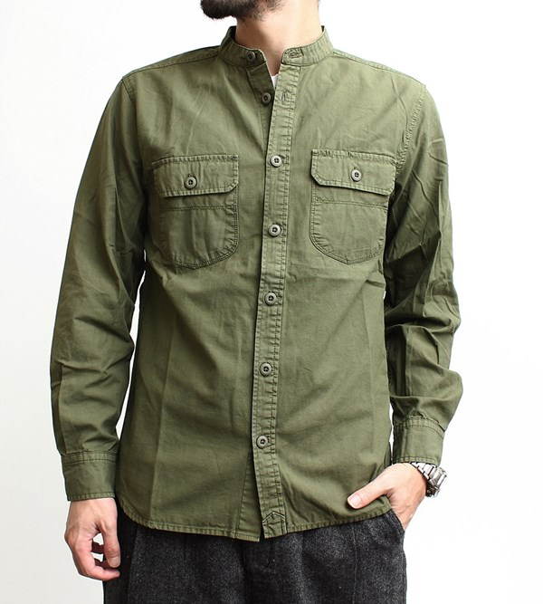 RockingChair: Without a band collar shirt grn Gerard en long sleeve