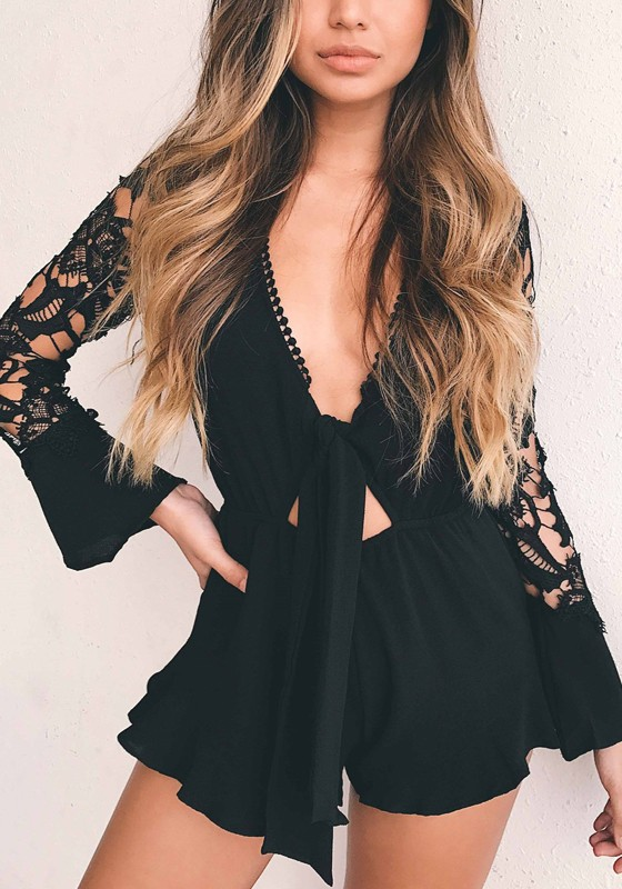Black Patchwork Lace Deep V-neck Long Sleeve Short Jumpsuit - Shorts