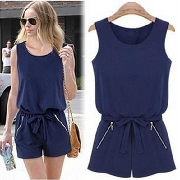 2019 Navy Women Jumpsuit Shorts Sexy Back Open Overalls Bodysuit