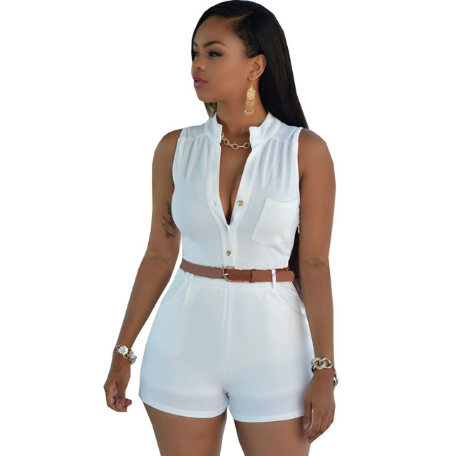 Casual Summer Women Jumpsuit 2017 Short Playsuit Rompers Deep V Neck