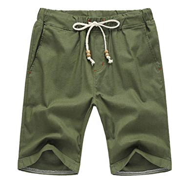 Amazon.com: vermers Men Summer Short Pants Linen Cotton Solid Beach