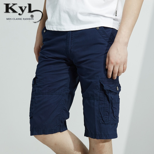 Men Shorts Summer 2017 Knee Length Men Short Pants Cotton Blue Male